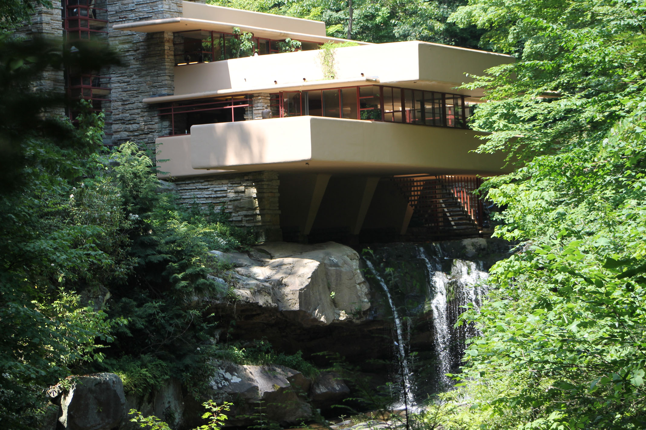fallingwater by wrights Fallingwater: fallingwater, weekend residence situated over a waterfall in southwestern pennsylvania designed by american architect frank lloyd wright in 1935.