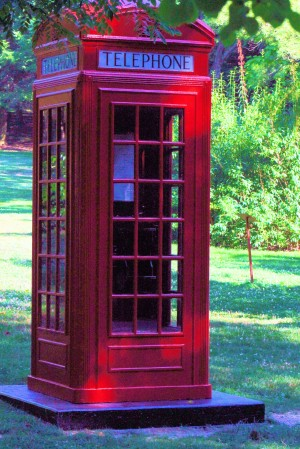 BRITISH TELEPHONE BOOTH FOUND ON KENTUCK KNOB - ONE OF FRANK LLOYD WRIGHT'S HOME