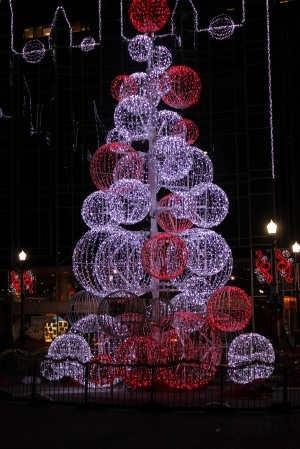 SPHERE TREE IN MARKET SQUARE DURING CHRISTMAS