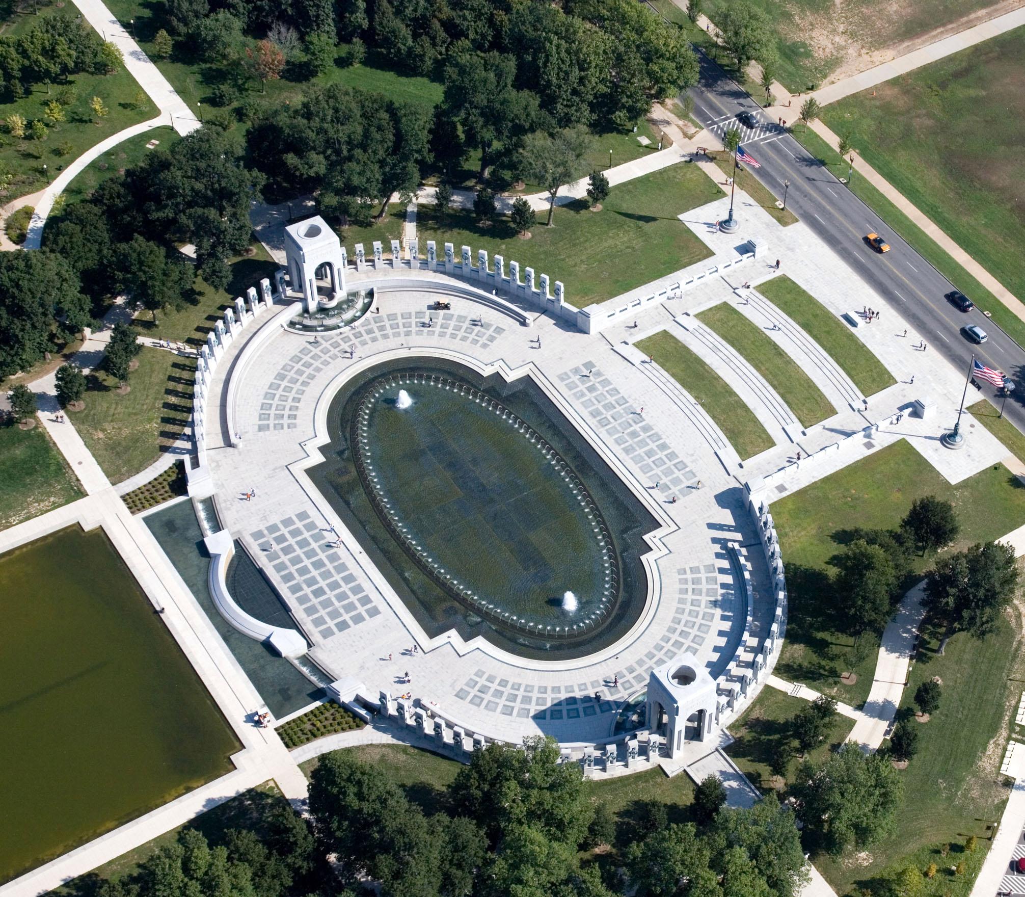 Aerial view of national world war ii memorialwww